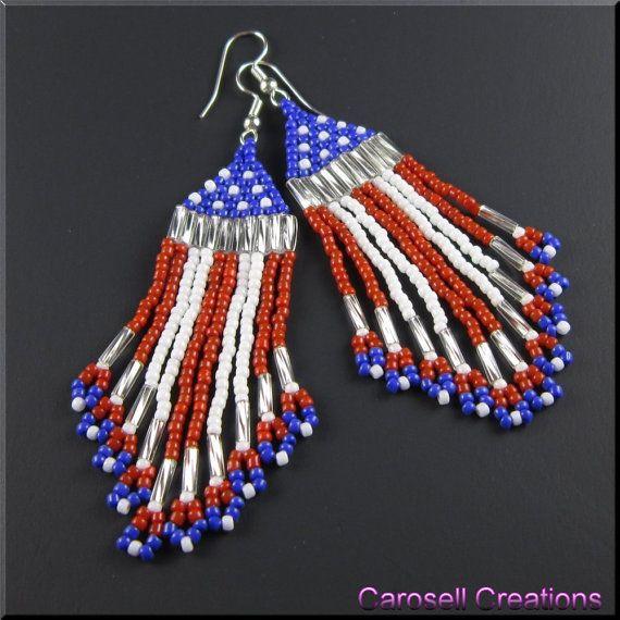 USA drapeau patriotique perlage pendants rocaille par carosell
