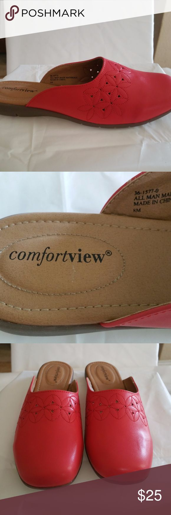 "Comfortview Bella Mule 8 M Dusty Coral Comfortview Mules Casual/Work, versatile 8 M This pair of mules are called Dusty Coral, but they are more of a watermelon color to me, just my opinion!  Pretty mule with flower embroidery on the vamp is stylish with comfort!  Padded insoles offer extra cushioning at heel and toe bed  Comfort grip - flexible, skid-resistant soles are designed for better traction  Comfort heel - the stabilized heel design and sound construction offer better support.  ¾""…"