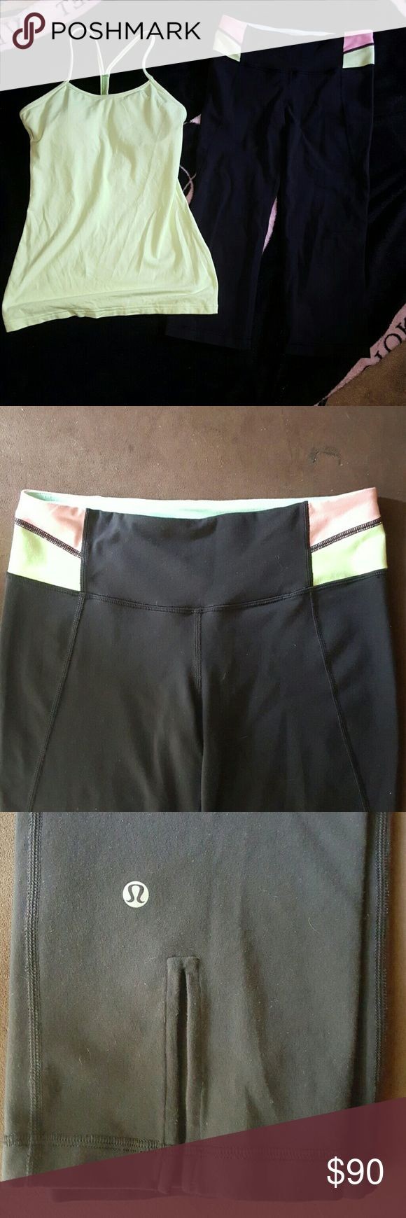 **24hr sale!! Lululemon set (6) Euc lulu crop capri and flow y tank. Lime green and pink waistband and matching lime green tank. Both are size 6 *be sure to check out my other great lulu items! Offering a bundle discount lululemon athletica Pants Capris