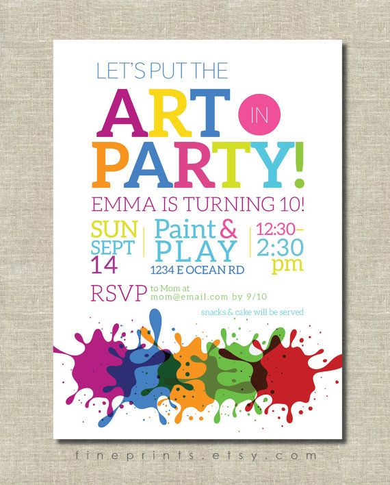 Art Party Invitation Painting Birthday By Fineprints Artsy Invitations And