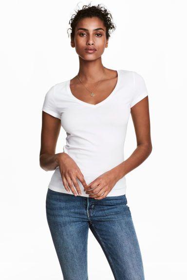 Top à encolure en V - Blanc - FEMME | H&M FR 1