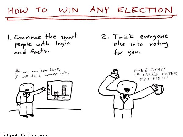 Comic by Toothpaste For Dinner: how to win any election