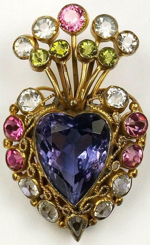Hobe Sterling Gold Filigree Multicolour Stones And