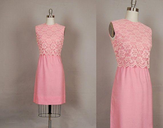 vintage 1960s lace wiggle dress: Dresses Lace, Wiggle Dress, 60S Wiggle, 1960S Lace, Dresses 60S, 1960S Dresses, Vintage 1960S, Cotton Pink, Cocktails Parties
