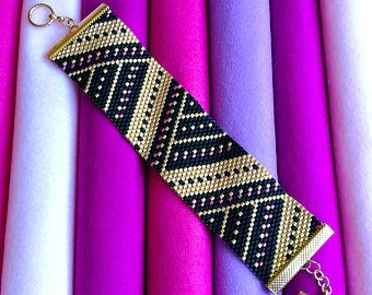 Peyote Stitch Cuff Bracelet PDF Pattern - Angular Splendour - Black, Gold & Pink Beading Pattern - Even Count Peyote