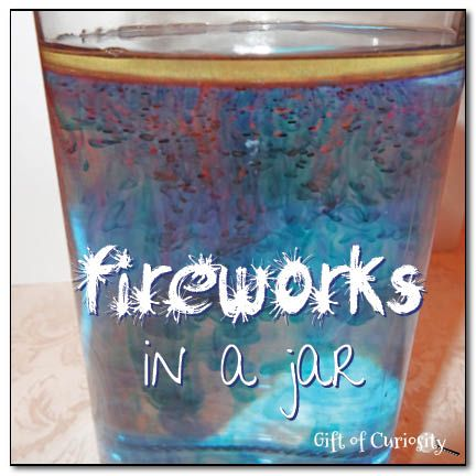 Fireworks in a Jar by Gift of Curiosity. Chances are good that you've got everything you need in your kitchen to generate some oohs and ahhs from the kiddos!