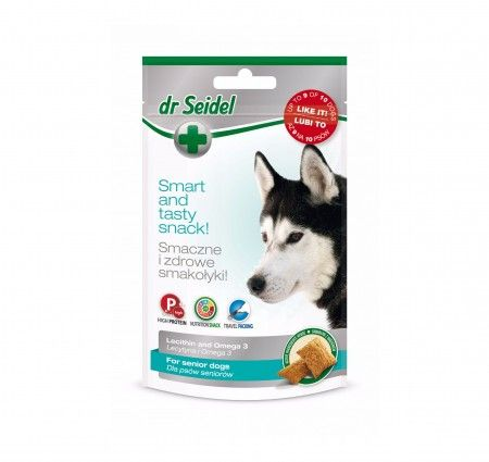 dr Seidel Smakołyki dla psów seniorów. Smakołyki dla psów z osłabioną odpornością, w czasie chorób i rekonwalescencji oraz dla psów bardzo aktywnych i seniorów. Wzbogacone o lecytynę i Niezbędne Nienasycone Kwasy Tłuszczowe (NNKT) Omega-3, które korzystnie wpływają na stan całego organizmu. Lecytyna poprawiająca pamięć, funkcjonowanie mózgu i wzmacniająca mięsień sercowy. Kwasy Omega-3 posiadające działanie przeciwzapalne i zwiększające odporność organizmu na choroby.