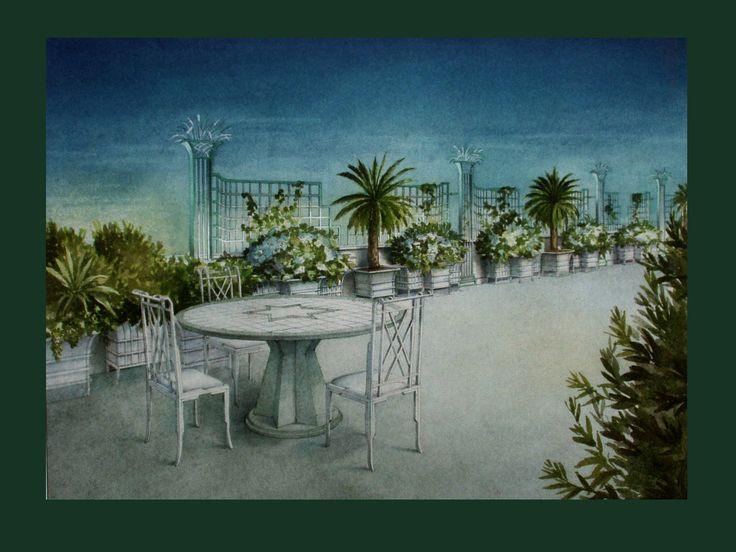 ROOF GARDEN watercolor on www.malleorossi.it