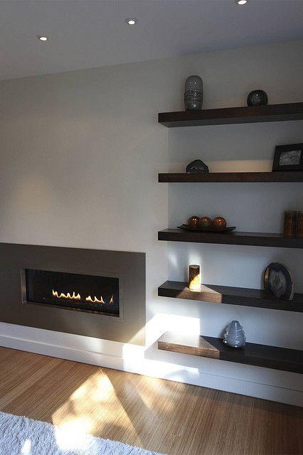 Modern fireplace by Steve Kuhl, via Flickr Shelves beside our fireplace in living room?