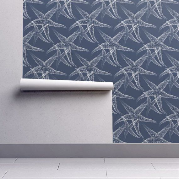 Starfish Wallpaper Starfish Dark Blue White Beach By 13moons Etsy Self Adhesive Wallpaper Wallpaper Blue And White