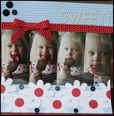 """Adorable Girl's """"Sweet"""" Flower Scrapbooking Page...Erica Cerwin - Pink Buckaroo Designs."""