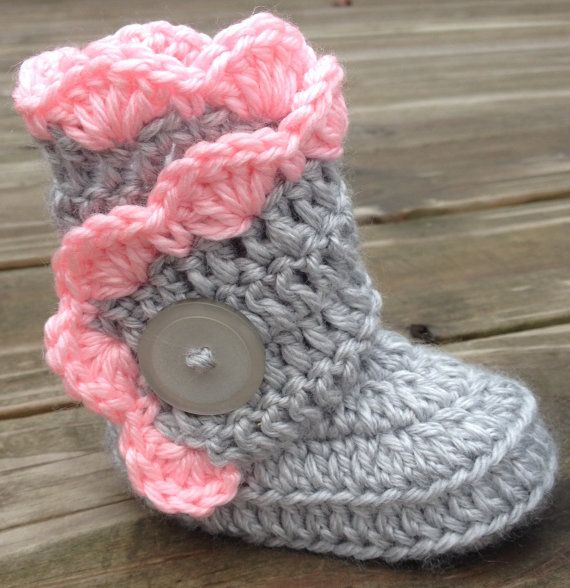 Ruffly Side Wrap Baby Boots in Pink Elephant Ages by StudioCbyE