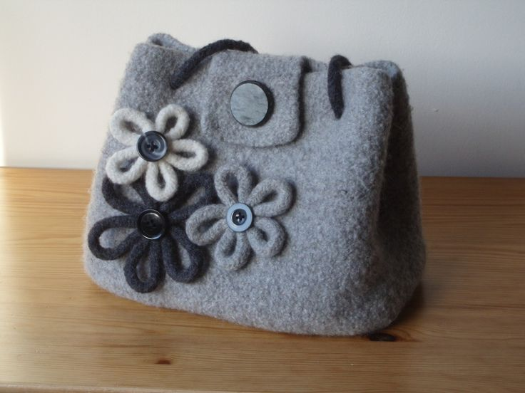 felted bag | ... Knitted and Felted Bag with Felted Flower Brooches - Carr Felted Bags