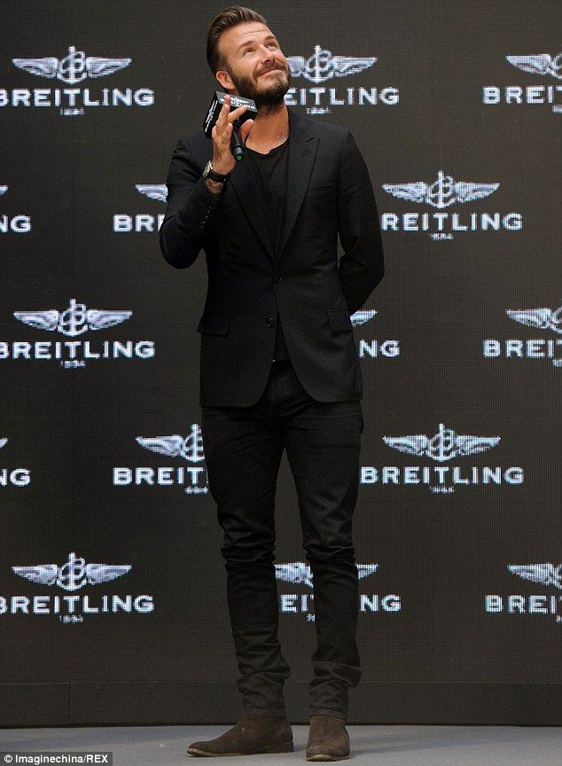 David Beckham looks dapper in a smart black suit in China ...  David Beckham l...