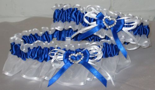 Royal Blue and White Wedding Prom Garter Set with Rhinestone Hearts | eBay
