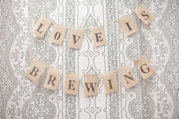 DIY burlap banner to decorate a coffee bar at a wedding reception... I'm DEFINITELY going to have one of these!