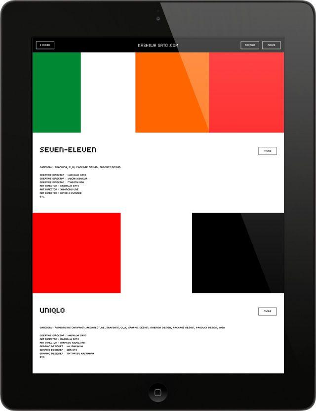 iPad app of Kashiwa Sato's portfolio website: Art Direction by Yugo Nakamura,   Design / Programming by Naoki Nishimura