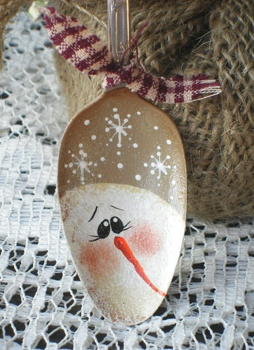 Snowman Silver Plated Spoon Ornament