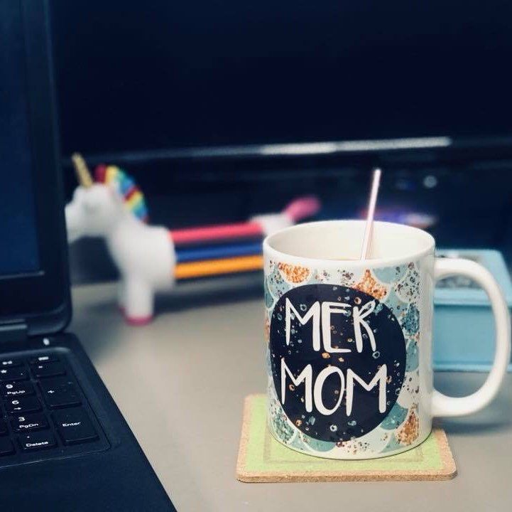 "Hey there MerMom! Can't you just imagine this one on your desk holding *your* coffee while you crank out another email and do it all? I *love* getting photos from happy customers of my mugs and gifts ""in the wild"".  Special thanks to Mindy! <3 *10% off *"