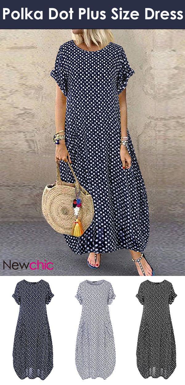 #Hot Sale# Polka Dot Short Sleeve Plus Size Dress