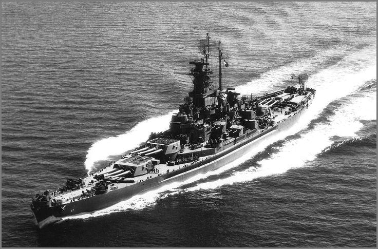 Battleship USS South Dakota in Puget Sound, August 21st 1944.
