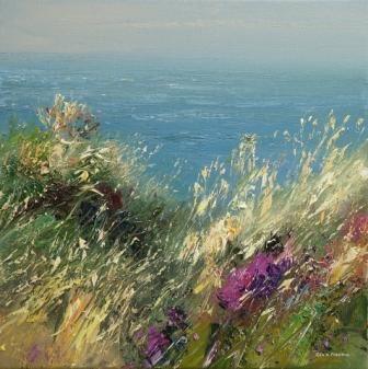 British Artist Rex PRESTON-Summer Breeze, Zennor Head, Cornwall