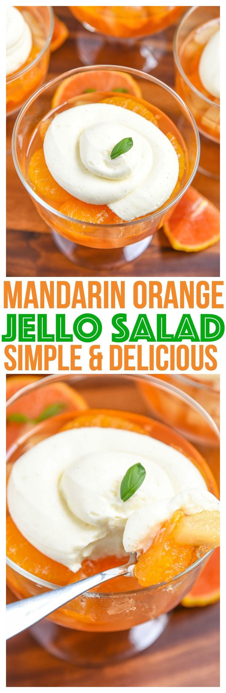Quick easy Mandarin Orange Jello Salad Recipe. Simple gelatin dessert for summer parties! Kid Friendly Recipe Mini Chef Mondays, Jello salad with pudding  via @CourtneysSweets