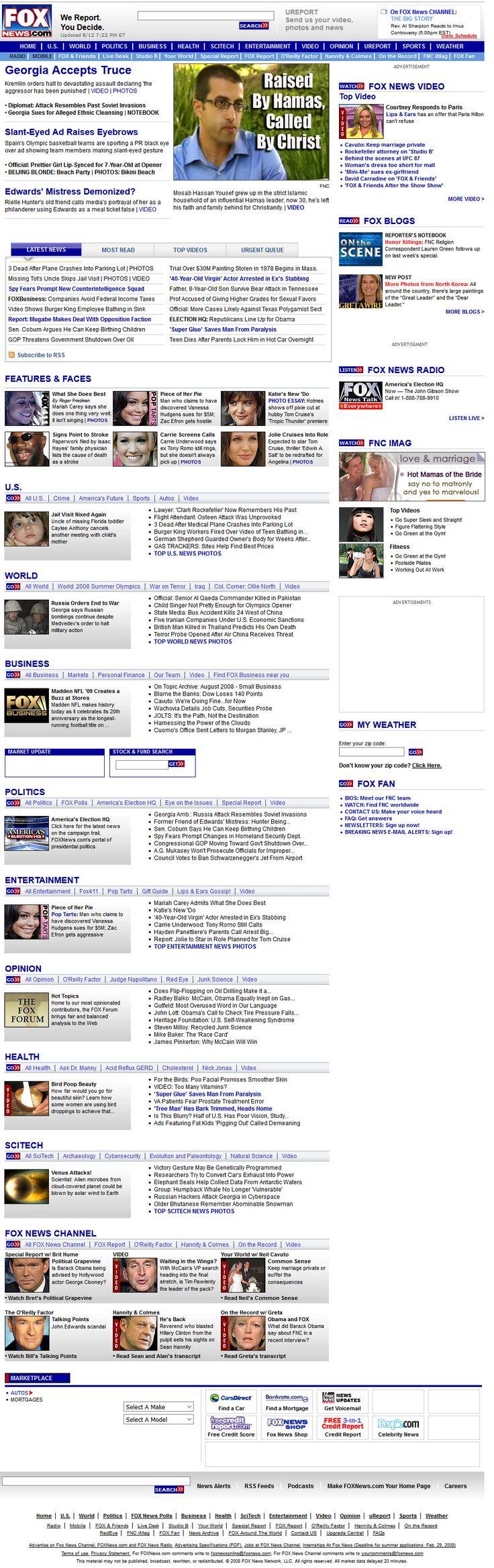 Fox News Channel website in 2008