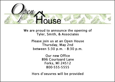 Party Invitation for Business Open House at CardsShoppe