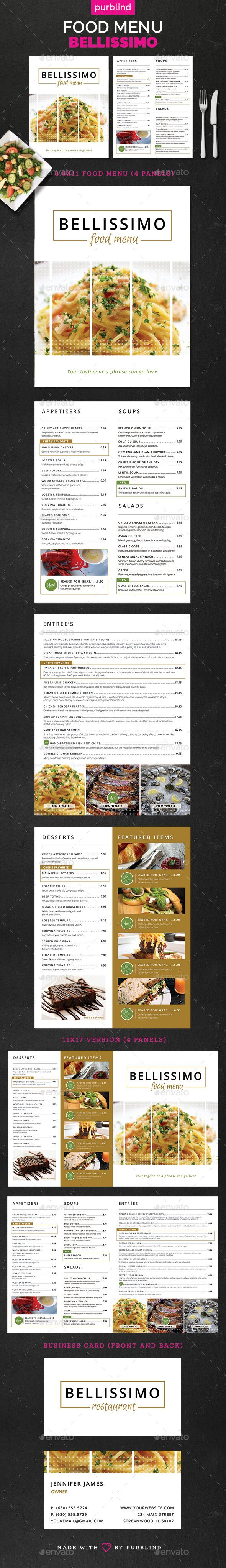 Restaurant Menu Set - Bellissimo Template PSD #design Download: http://graphicriver.net/item/restaurant-menu-set-bellissimo/13276115?ref=ksioks