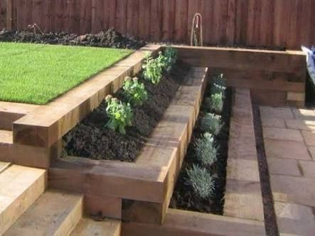 Image result for retaining wall wooden sleepers