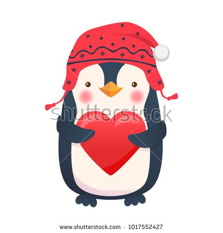 Penguin with heart. Penguin cartoon vector illustration. Stock photography, images, pictures, Illustrations, ideas. Download vector illustrations and photos on Shutterstock, Istockphoto, Fotolia, Adobe, Dreamstime