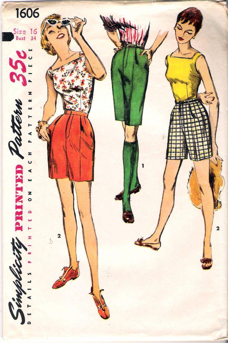 Vintage 1956 Simplicity 1606 Bermuda Shorts in by Recycledelic1