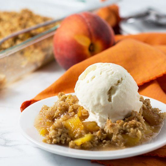 Peach Crisp with a crunchy, sweet and buttery topping comes together in about 40 minutes!