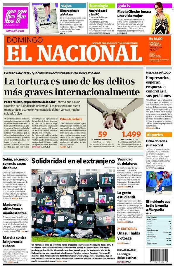 Portada del periódico El Nacional (Venezuela) del domingo 16 de marzo del 2014