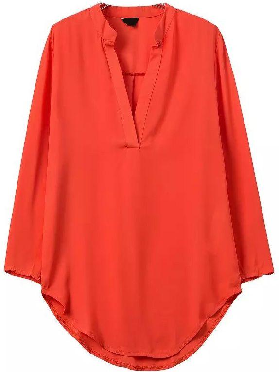 V Neck Long Sleeve Orange Blouse