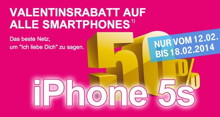 Ich liebe Dich: iPhone 5s & 5c mit Vertrag zum halben Preis! - http://apfeleimer.de/2014/02/ich-liebe-dich-iphone-5s-5c-mit-vertrag-zum-halben-preis - Valentinstagaktion bei Telekom: 50 Prozent Rabatt auf iPhone 5s, iPhone 5c sowie ALLE anderen Smartphones! Zum vevorstehenden Valentinstag hat sich die Telekom etwas besonderes ausgedacht: das Apple iPhone 5s mit Vertrag ist ab heute bis zum 18.2.2014 zum halben Preis zu haben. Laut...