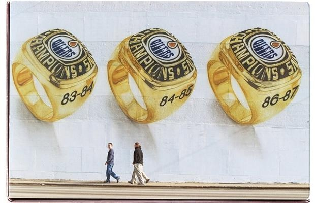 A 2000 Edmonton street mural of the Stanley Cup rings won by the Edmonton Oilers