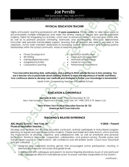 Physical education resume sample -  this Phys Ed teacher resume example highlights the expertise Joe can bring to the gym and instilling the importance of a healthy lifestyle and sportsmanship in all students. This P.E. teacher sample uses an eye-catching