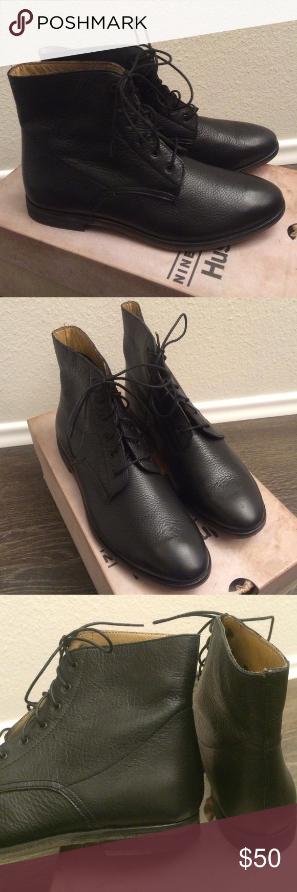 Hush Puppies Edlyn Leather Lace Up Boots All leather lace up boots from Hush Puppies! These have not been worn, still have the box they came in. Note, they say US 8.5 / EUR 40. Would fit a true 8.5 or 8 with thicker socks. Hush Puppies Shoes Lace Up Boots