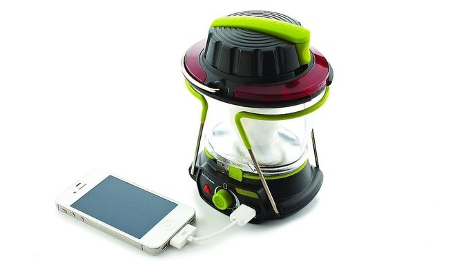 Goal Zero Lighthouse 250 LED lantern.. uses solar power to charge your electronics while you're camping!