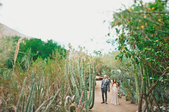Palm Springs wedding in a cactus garden