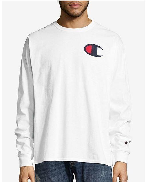 e82f9617 Champion Men's Classic Jersey Long Sleeve T-Shirt - Big C Logo - 8 COLORS -  S-2X #BIG #GraphicTee