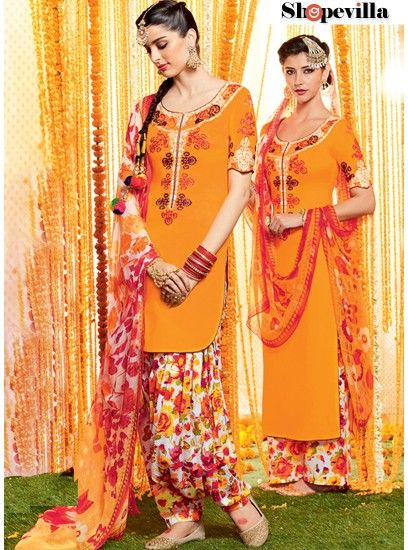 Fine Yellow Colour Pure Soft Cotton Patiala Dress Material-6605