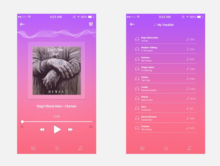 Cool Music Player App Screen UI Free PSD. Download Music Player App Screen UI Free PSD. This is music app screens psd made for mobile using Material Design. The Music Player App Screen UI Free PSD looks clean and fresh with soft color scheme. In this Music App Free PSD you will find 2 app screens such as music player and Track List screen which you can use it to build different types of mobile...