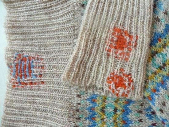 More darning on the Shetland Jumper (from Prick Your Finger, UK)