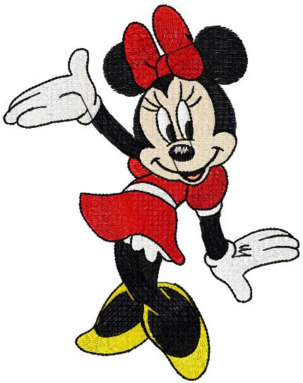 Minnie dancing free embroidery design