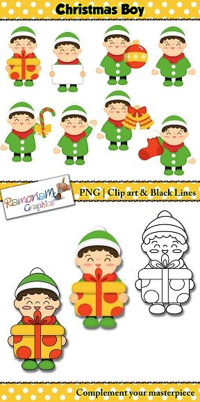 Christmas Clip art, little boy set features a little boy holding a variety of Christmas themed items