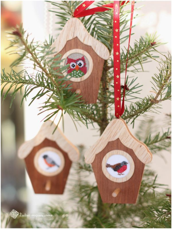 bird houses with cross stitch embroidery