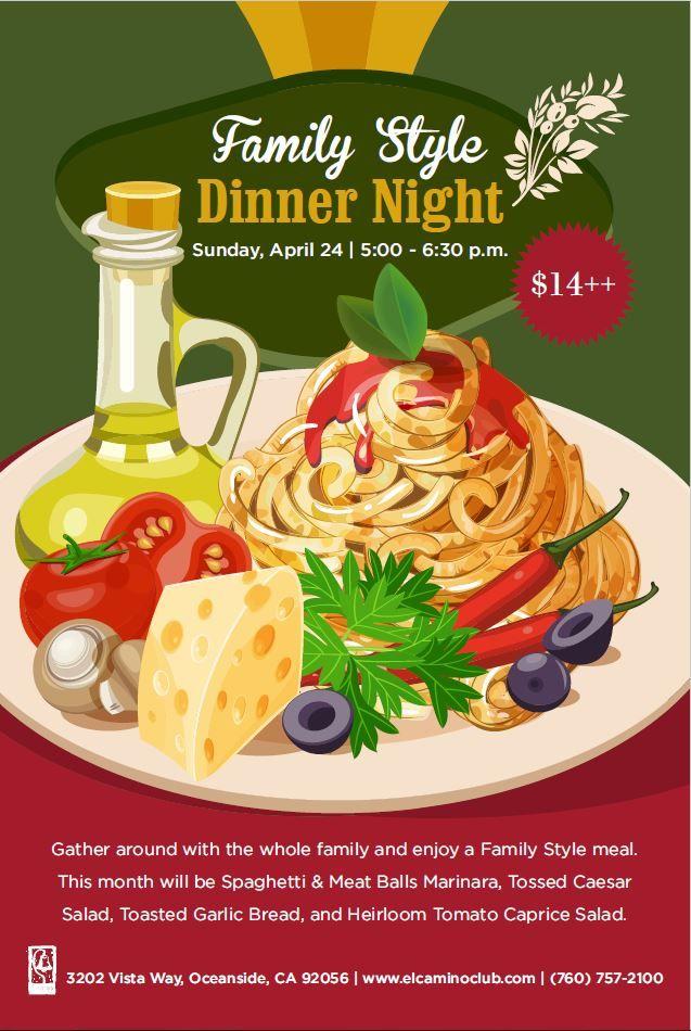 family style dinner pasta italian food event flyer poster